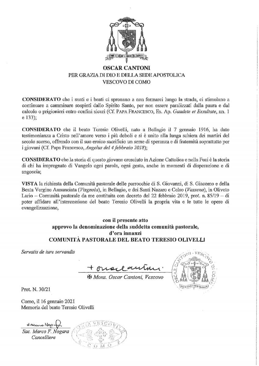 Lettera del Vescovo di Como Oscar Cantoni